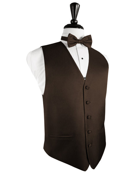 Chocolate Herringbone Tuxedo Vest and Tie Set