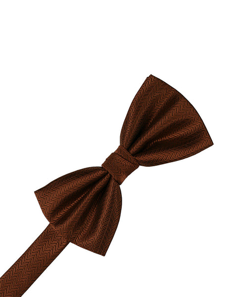 Cinnamon Herringbone Formal Bow Tie