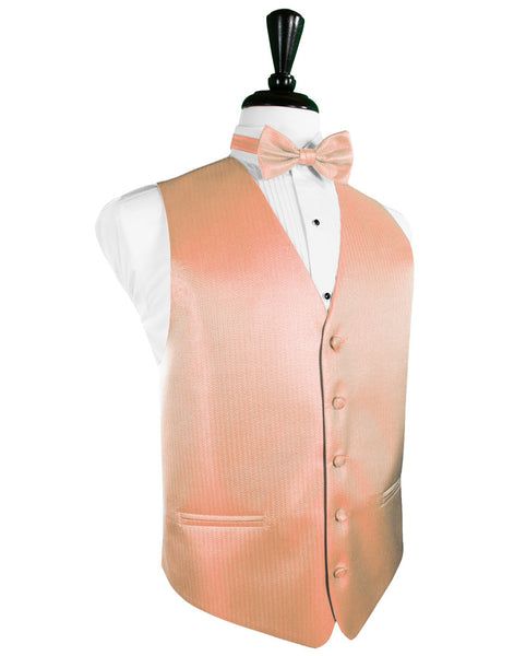 Coral Herringbone Tuxedo Vest and Tie Set