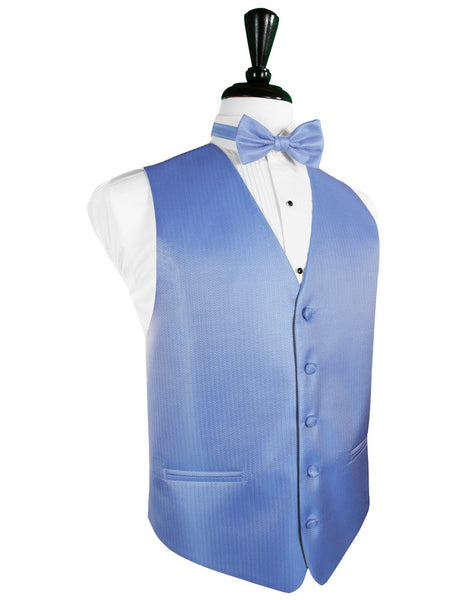 Cornflower Blue Herringbone Tuxedo Vest and Tie Set