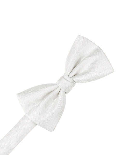 Diamond White Herringbone Formal Bow Tie