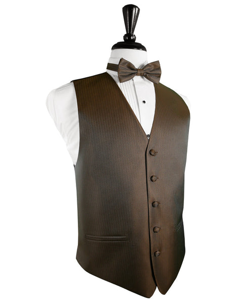 Espresso Herringbone Tuxedo Vest and Tie Set