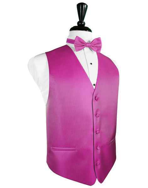 Fuchsia Herringbone Tuxedo Vest and Tie Set