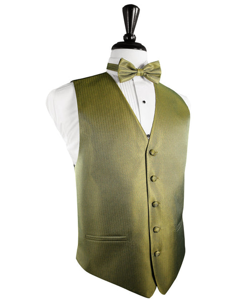 Gold Herringbone Tuxedo Vest and Tie Set