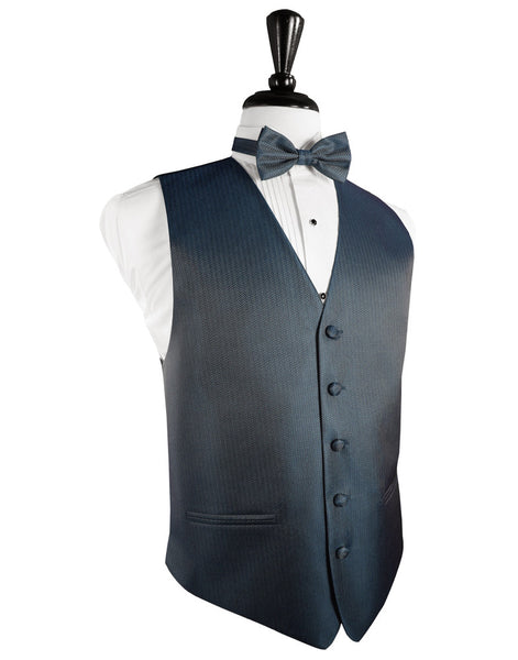 Haze Blue Herringbone Tuxedo Vest and Tie Set
