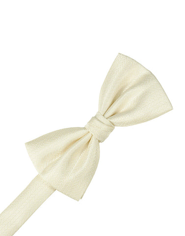 Ivory Herringbone Formal Bow Tie