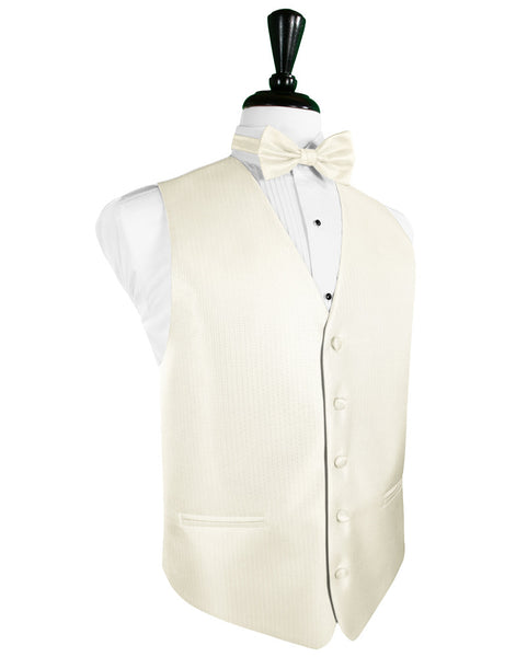 Ivory Herringbone Tuxedo Vest and Tie Set