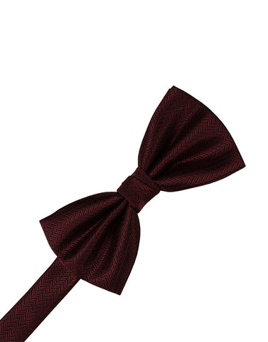 Merlot Herringbone Formal Bow Tie