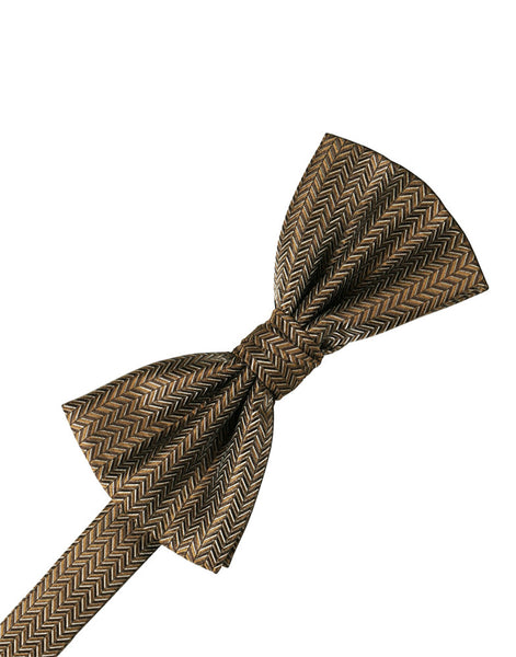 Mocha Herringbone Formal Bow Tie