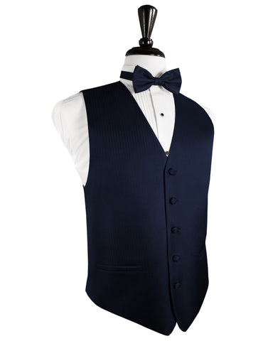 Navy Blue Herringbone Tuxedo Vest (5X-Large LONG (62-64))