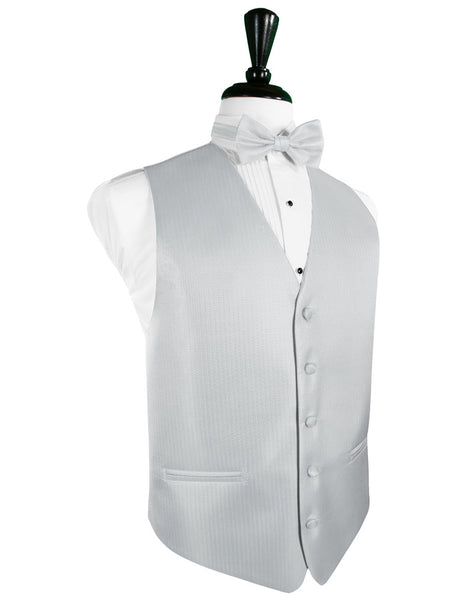 Platinum Herringbone Tuxedo Vest and Tie Set