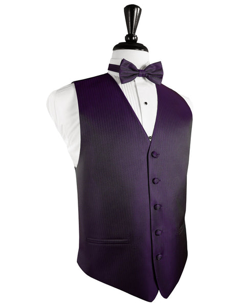 Plum Herringbone Tuxedo Vest and Tie Set