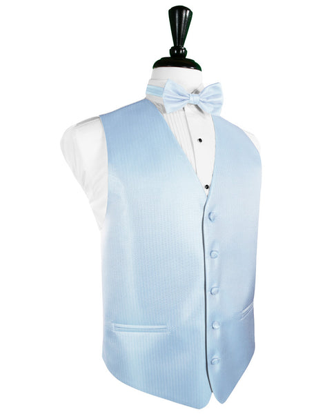 Powder Blue Herringbone Tuxedo Vest and Tie Set