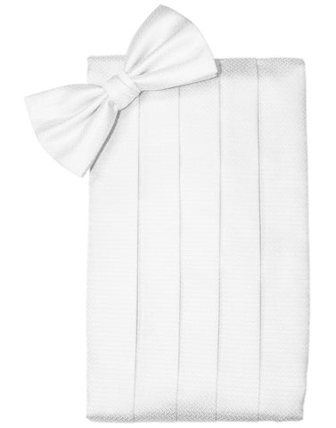 """Pure White"" Herringbone Cummerbund Set"