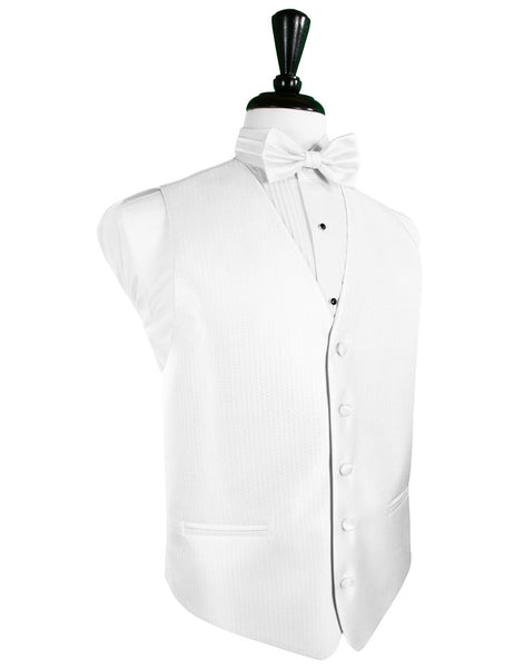 Pure White Herringbone Tuxedo Vest and Tie Set