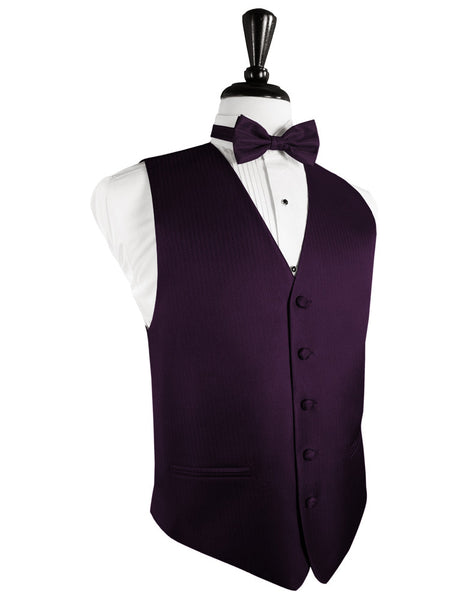 Raisin Herringbone Tuxedo Vest and Tie Set