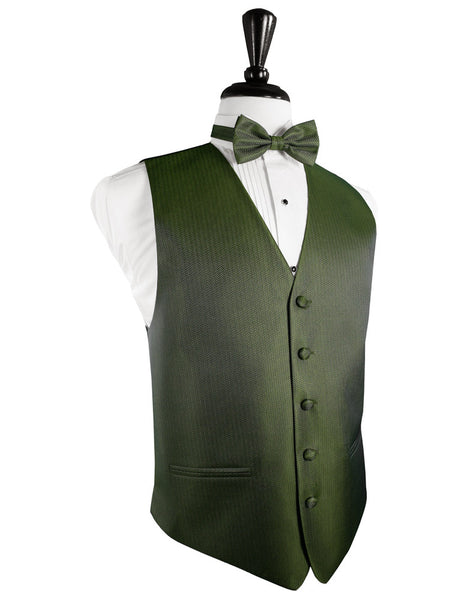 Sage Herringbone Tuxedo Vest and Tie Set