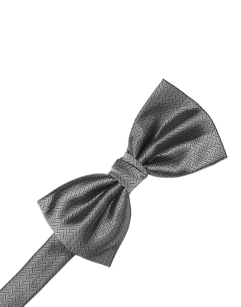 Silver Herringbone Formal Bow Tie