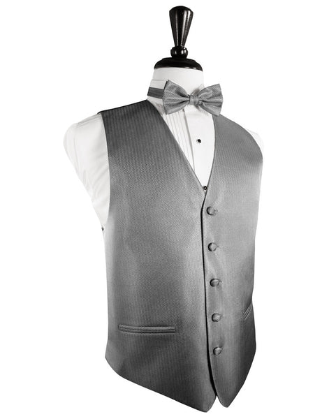 Silver Herringbone Tuxedo Vest and Tie Set