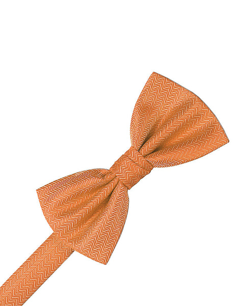 Tangerine Herringbone Formal Bow Tie