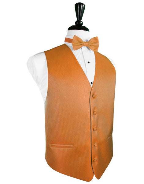 Tangerine Herringbone Tuxedo Vest By Cardi and Tie Set