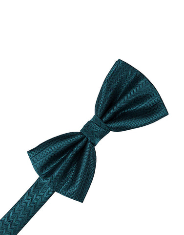 Teal Herringbone Formal Bow Tie