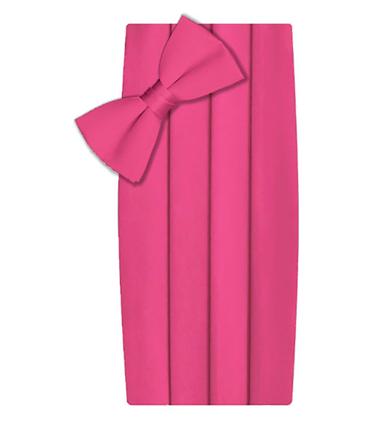 Poly/Satin Cummerbund and Bow Tie Set - Hot Pink