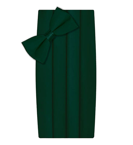 Poly/Satin Cummerbund and Bow Tie Set - Hunter Green