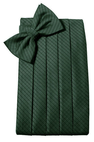 Hunter Green Diamond Grid Pattern Cummerbund Set