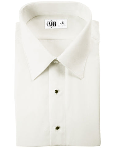 Ivory Non Pleated Laydown Collar (Como) Tuxedo Shirt by Cardi