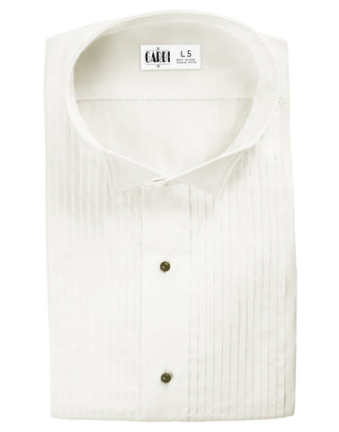 Ivory Pleated Wing Collar (Dante) Tuxedo Shirt by Cardi - Ultra Soft Fabric
