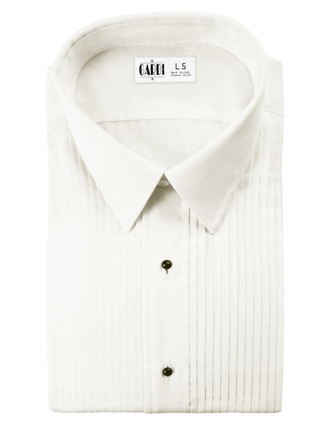 Ivory  Pleated Laydown Collar (Enzo) Tuxedo Shirt by Cardi - Ultra Soft Fabric