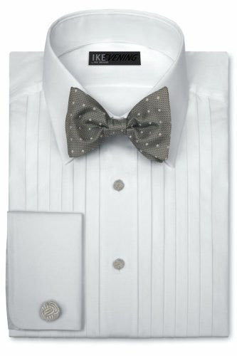 Ike Behar Tuxedo Shirt - Pleated with Laydown Collar - 50's Broadcloth Cotton