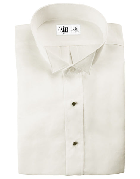 Ivory Wing Collar Non-Pleated (Lucca) Tuxedo Shirt by Cardi - Ultra Soft Fabric