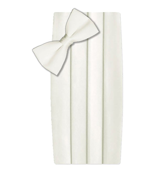 Poly/Satin Cummerbund and Bow Tie Set - Ivory