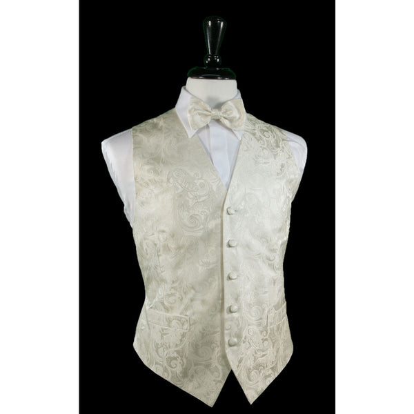 Tapestry Pattern Silk Tuxedo Vest (Ivory) - 100% Silk and Tie Set