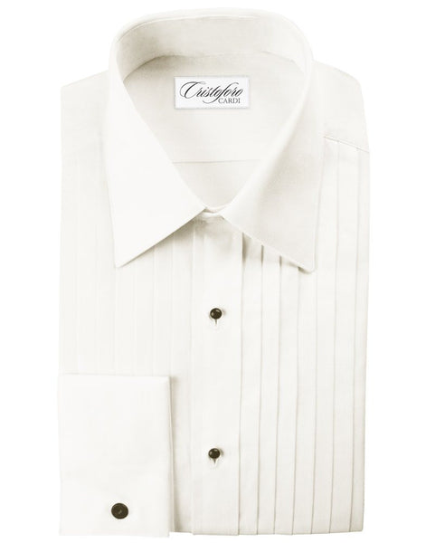 Men's Big and Tall IVORY Tuxedo Shirt - 100% Cotton, Laydown Collar, French Cuffs