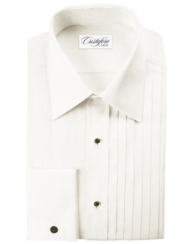 100% Cotton IVORY Pleated (Milan) Tuxedo Shirt by Christoforo Cardi with French Cuffs