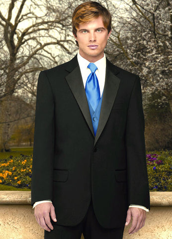 1 Button Tuxedo with Notch Lapel by Jean Yves - 100% Worsted Wool