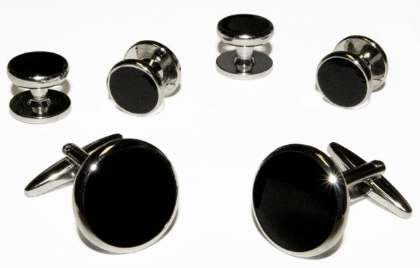 Black Cufflinks & Studs With Silver Trim (CP2S)
