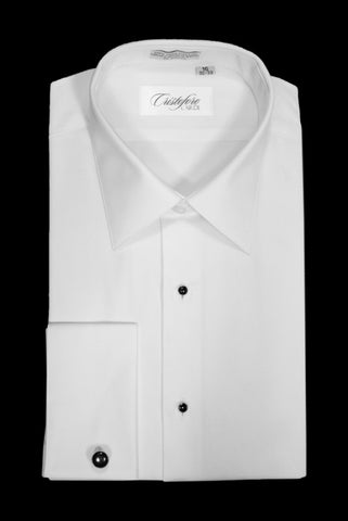 BARI White Laydown Non-Pleated Tuxedo Shirt by Cristoforo Cardi - French Cuffs