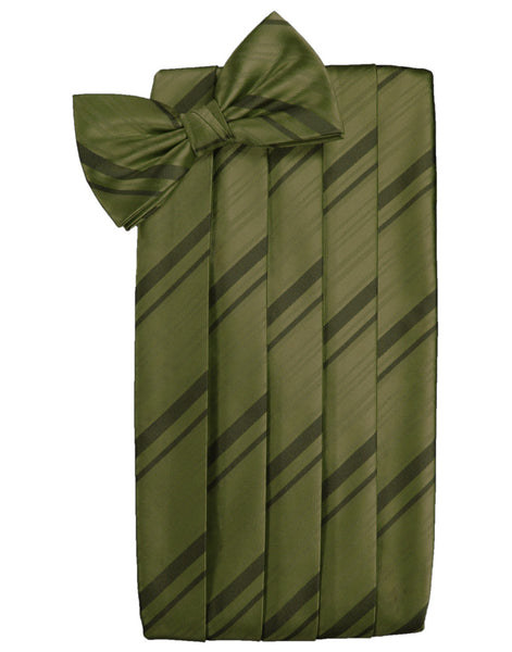 Moss Striped Satin Cummerbund Set