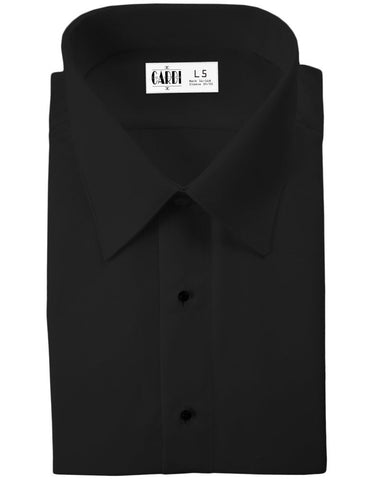Black Slim Fit (Lido) Style Tuxedo Shirt - Non Pleated with Laydown Collar