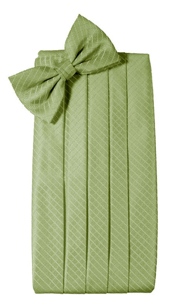 Lime Green Diamond Grid Pattern Cummerbund Set