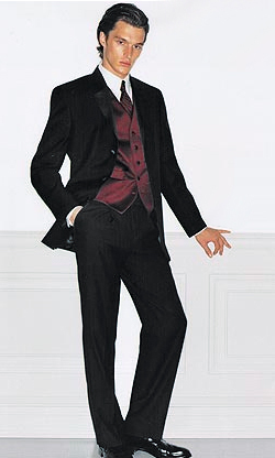 Calvin Klein (Barcelona) Tuxedo - Slim Fit Super 130's Wool Tuxedo with Non-Pleated (Flat Front) Trousers