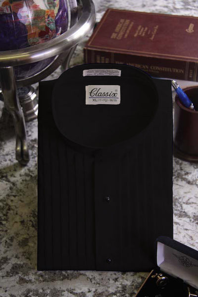 "Men's Black Banded Collar Tuxedo Shirt  With 1/2"" Pleats"