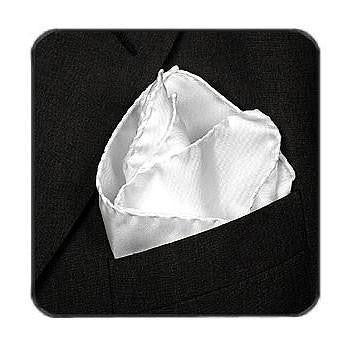 Deluxe Satin Formal Pocket Square (White)