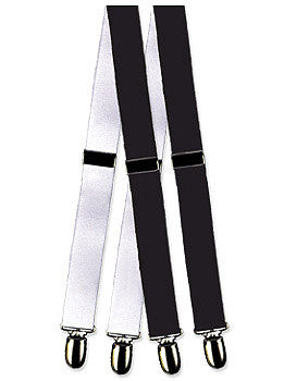 Formal Mylar Clip Tuxedo Suspenders (White)