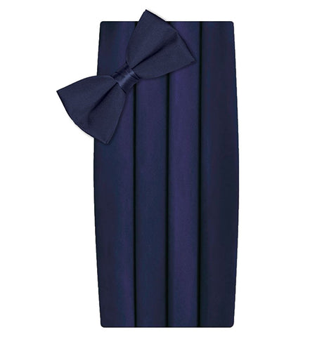 Poly/Satin Cummerbund and Bow Tie Set - Navy Blue