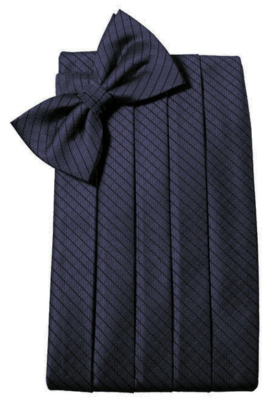 Navy Blue Diamond Grid Pattern Cummerbund Set